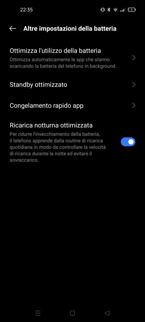 Recensione Realme GT Master Edition - batteria - ricarica notturna